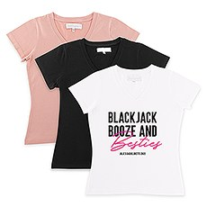 Personalized Bridal Party Wedding T-Shirt - Blackjack, Booze and Besties