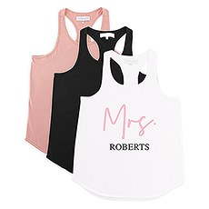 Personalized Bridal Party Wedding Tank Top - Mrs. Script