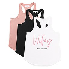 Personalized Bridal Party Wedding Tank Top - Wifey Script