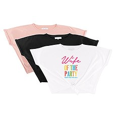 Personalized Bridal Party Tie-Up Wedding Shirt - Wife of the Party