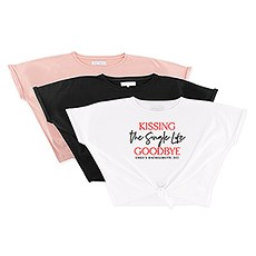 Personalized Bridal Party Tie-Up Wedding Shirt - Kissing the Single Life Goodbye