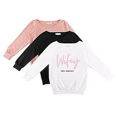Personalized Bridal Party Wedding Sweatshirt - Wifey Script