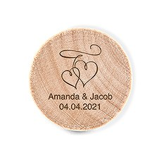 Custom Engraved Reusable Wooden Bottle Stopper - Double Hearts