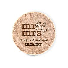 Custom Engraved Reusable Wooden Bottle Stopper - Mr & Mrs