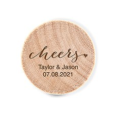 Custom Engraved Reusable Wooden Bottle Stopper - Cheers
