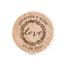 Custom Engraved Reusable Wooden Bottle Stopper - Love Wreath