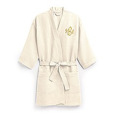 Women's Personalized Embroidered Waffle Knit Robe - Ivory