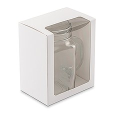 12 oz Mason Jar Drinking Glass Gift Box with Clear Window - White