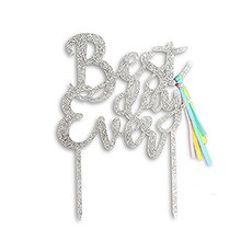 Iridescent Silver Acrylic Cake Topper - Best Day Ever