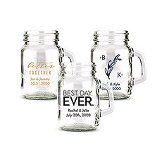Personalized Mini Mason Jar Shot Glass Wedding Favor