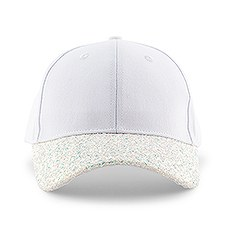Women's 6-Panel Wedding Party Glitter Hat - White