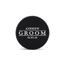Custom Hockey Puck Bottle Opener Gift - Groom