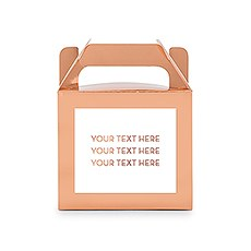 Personalized Rose Gold Rectangle Paper Favor Box with Handle - Custom Text