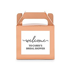 Personalized Rose Gold Rectangle Paper Favor Box with Handle - Welcome Script