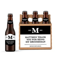 Personalized Kraft Cardboard Six Pack Beer Bottle Caddy - Established