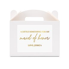 Personalized White Rectangle Paper Gift Box with Handle - Free Script