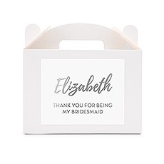 Personalized White Rectangle Paper Gift Box with Handle - Calligraphy