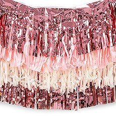 Tissue Paper & Metallic Foil Layered Fringe Garland Decoration - Pink, White & Ivory - Set of 4