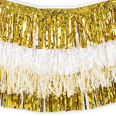 Tissue Paper & Metallic Foil Layered Fringe Garland Decoration - Gold & White - Set of 4