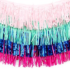 Tissue Paper & Metallic Foil Layered Fringe Garland Decoration - Navy Blue, Pink & Teal - Set of 4
