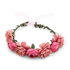 Bridal Party Flower Crown Wreath - Pink Rose Medley