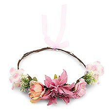 Bridal Party Flower Crown Wreath - Dusty Pink Dahlia Medley