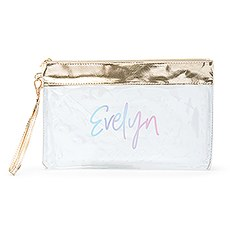 Personalized Large Clear Plastic Makeup Bag - Script Font