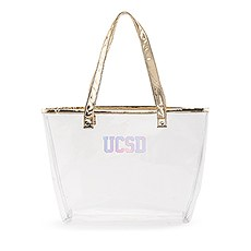Personalized Clear Plastic Stadium Tote Bag - Collegiate Monogram