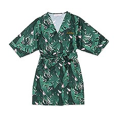Women's Personalized Embroidered Tropical Satin Robe with Pockets - Banana Leaf