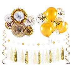 Assorted Party Decoration Kit - Gold & White