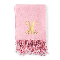 Women's Print Personalized Pashmina Scarf - Script Initial