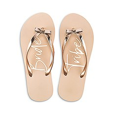 Women's Blush Pink & Rose Gold Flip-Flops with Bow - Bride Tribe