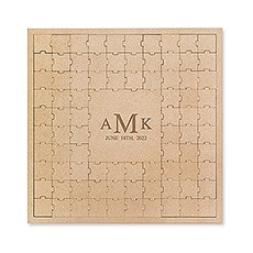 Personalized Wooden Square Puzzle Wedding Guest Book - Traditional Monogram