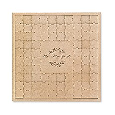 Personalized Wooden Square Puzzle Wedding Guest Book - Signature Script