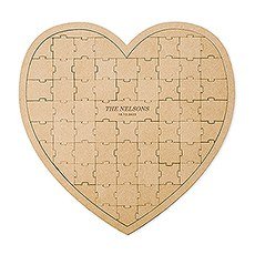 Personalized Wooden Heart Puzzle Wedding Guest Book - Classic Font