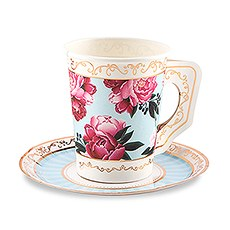Paper Teacups with Handles & Saucers - Modern Floral - Set of 8