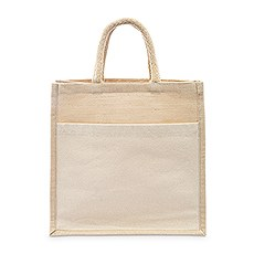 Medium Reusable Woven Jute Tote Bag with Pocket