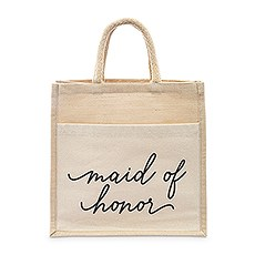 Medium Reusable Woven Jute Tote Bag with Pocket - Maid of Honor