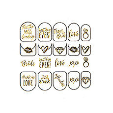 Adhesive Bachelorette Party Nail Stickers - Gold Bride Squad