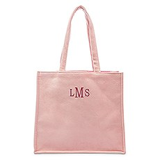 Large Personalized Velvet Tote Bag - Blush Pink