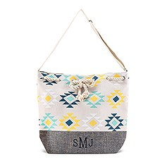 Personalized Extra-Large Cotton Canvas Drawstring Tote Bag - Aztec Tribal Print