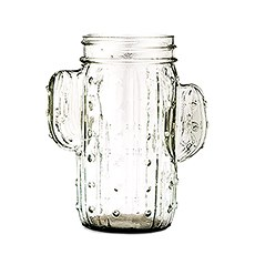 12 oz. Cactus Mason Jar Drinking Glass - Clear