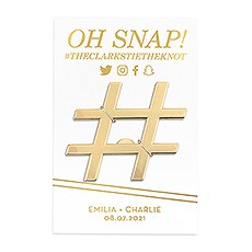 Gold Hashtag Bottle Opener Wedding Favor - Oh Snap