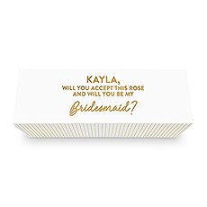 White Personalized Wine Gift Box with Magnetic Lid - Custom Text