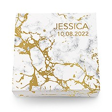 Large Personalized Marble Bridal Party Gift Box with Magnetic Lid - Custom Text