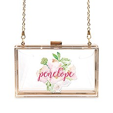 Personalized Acrylic Box Clutch - Floral Garden Party