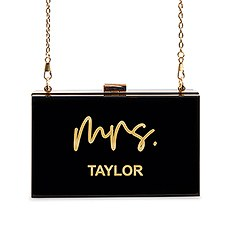 Personalized Acrylic Box Clutch - Mrs. Script