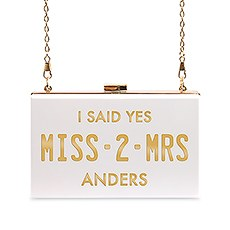 Personalized Acrylic Box Clutch - Gold Miss 2 Mrs