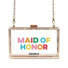 Personalized Acrylic Box Clutch - Color Block Maid of Honor