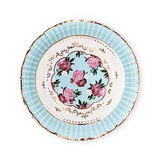 Large Round Disposable Paper Party Plates - Modern Floral Tea Party - Set of 8